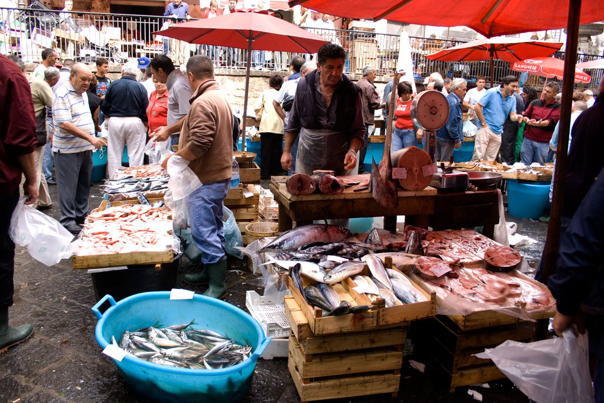 Fiskemarked i Catania, Sicilien