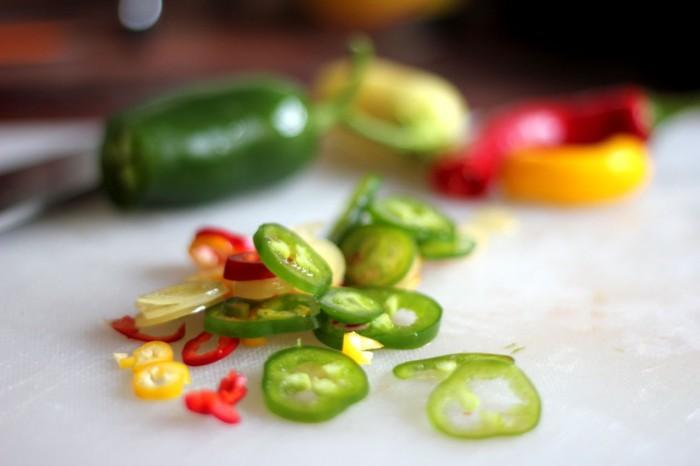 Fint skåret frisk chili