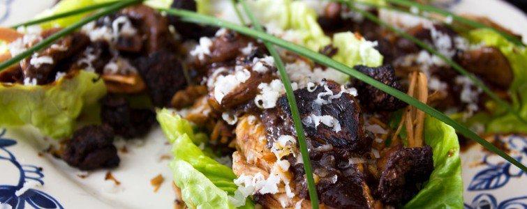 Confiteret grissebasse i hjertesalat med trøffel Pecorino