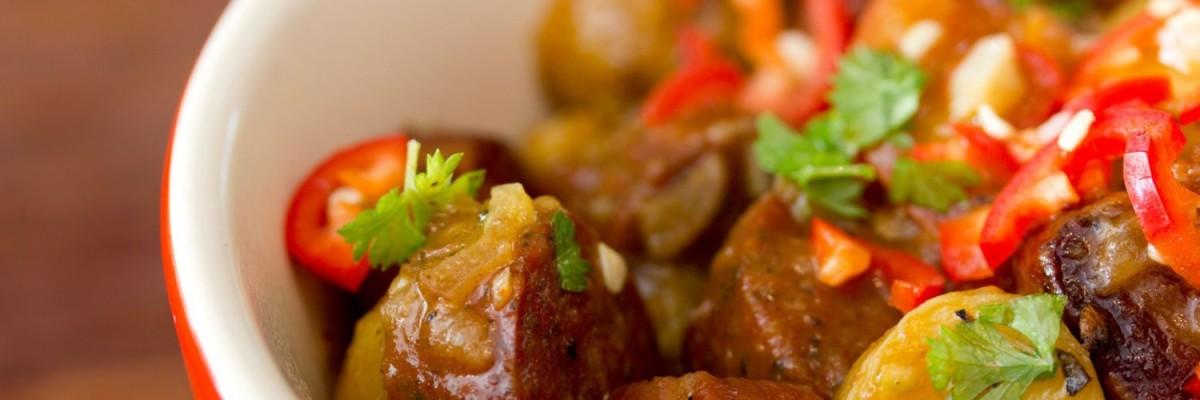 Kartofler, chorizo, bacon - Tapas inspireret varm ret