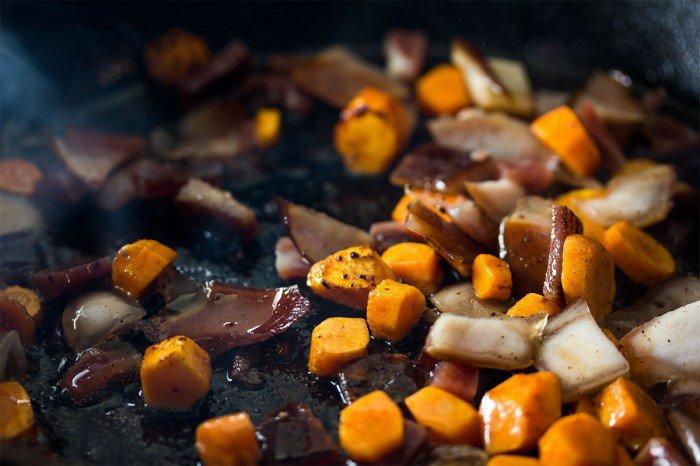 Steg gulerødderne og Fanø skinke resterne