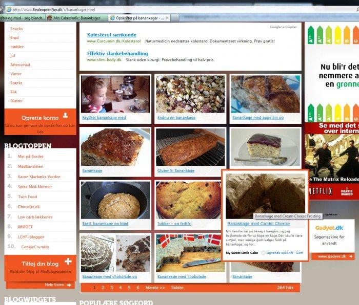 Landingpage fra Google søgeresultat på findeopskrifter.dk for banankage
