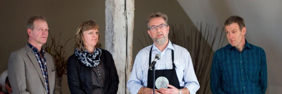 Holdet bag Lykkebjerg osten. Fra venstre Grietsje og Sjoerd Koudenburg fra Lykkebjerg, John Gynther Arla Unika, og Lars Nissen Tistrup Mejeri